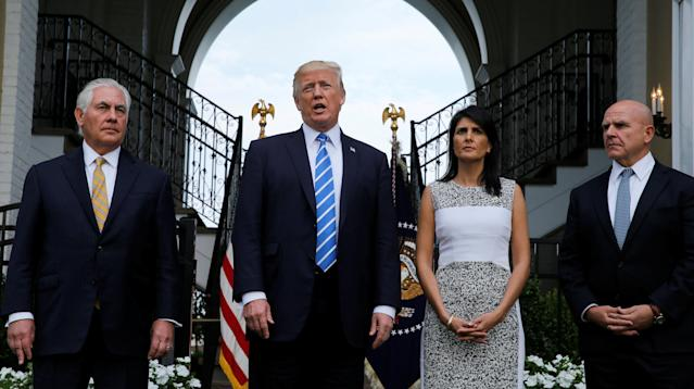 """WASHINGTON ― President Donald Trump on Sunday affirmed in a tweet that he was conferring with world leaders on North Korea's growing nuclear program, appearing to refer to North Korean leader Kim Jong Un as """"Rocket Man."""""""