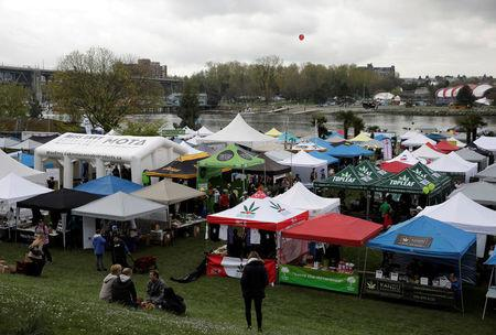 Vendor tents are pictured along the water at the annual 4/20 marijuana event at Sunset Beach in Vancouver, British Columbia, Canada April 20, 2017. REUTERS/Jason Redmond