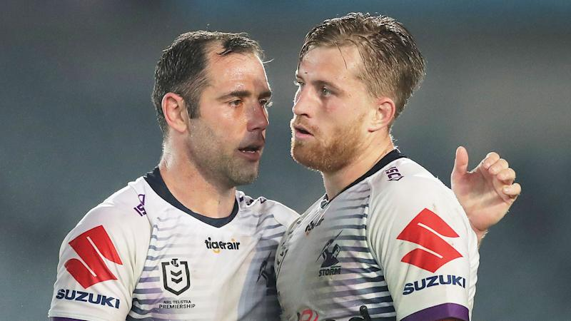 Pictured here Cam Smith and Cameron Munster chat during a Storm match.