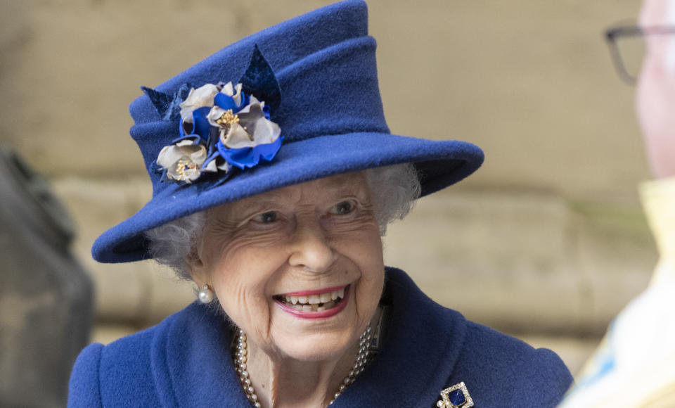 The Queen wearing blue