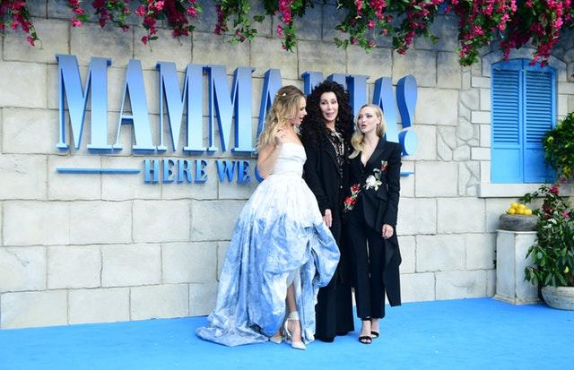 Lily James, Cher and Amanda Seyfried attending the premiere of Mamma Mia! Here We Go Again