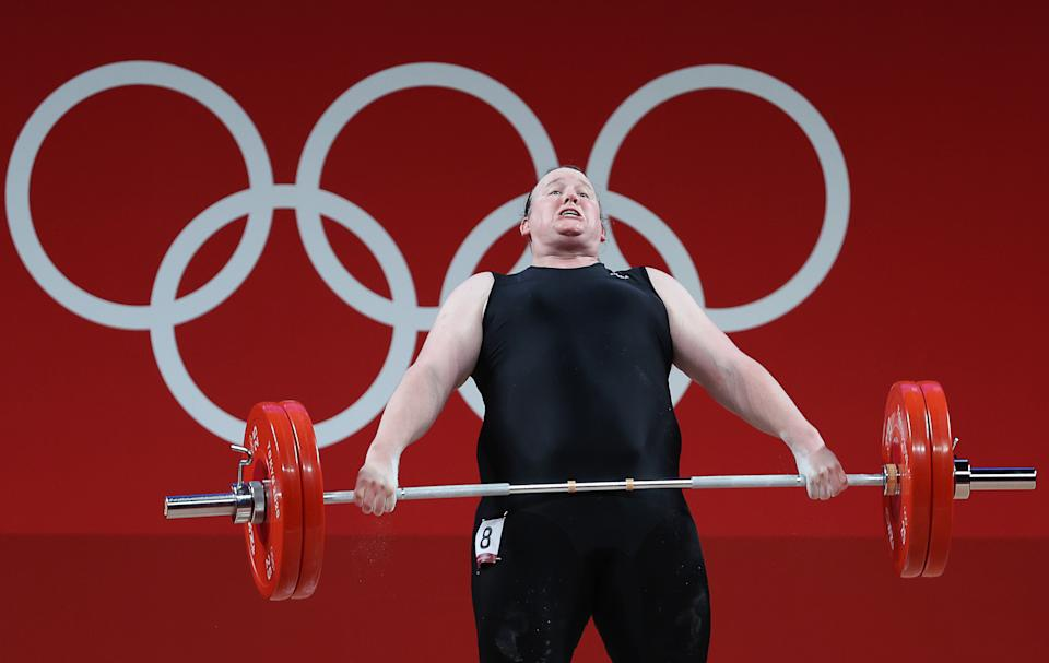 Seen here, New Zealand's Laurel Hubbard competes in the women's +87kg group A final weightlifting event at the Olympic Games.