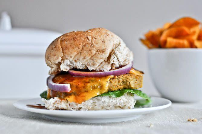 """<strong>Get the <a href=""""https://www.howsweeteats.com/2012/03/bbq-cheddar-chickpea-burgers/"""" rel=""""nofollow noopener"""" target=""""_blank"""" data-ylk=""""slk:BBQ Cheddar Chickpea Burgers recipe"""" class=""""link rapid-noclick-resp"""">BBQ Cheddar Chickpea Burgers recipe</a> from How Sweet It Is</strong>"""