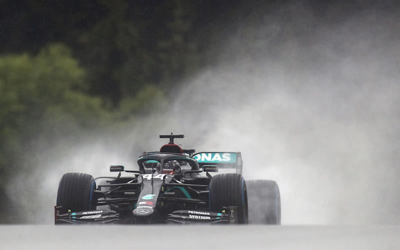 Lewis Hamilton drives his Mercedes around the Red Bull Ring in qualifying for the Styrian Grand Prix - MARK THOMPSON/POOL/AFP via Getty Images