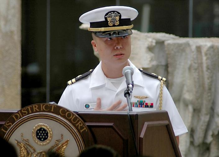 Prosecutors say Lieutenant Commander Edward Lin -- a decorated Navy veteran -- committed a string of offenses including espionage, mishandling classified information and failing to follow lawful orders (AFP Photo/Handout)