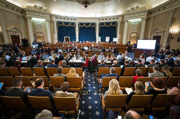 PHOTO: People fill the room before the House Intelligence Committee on Capitol Hill in Washington, Nov. 13, 2019. (Jim Lo Scalzo/Pool via AP)