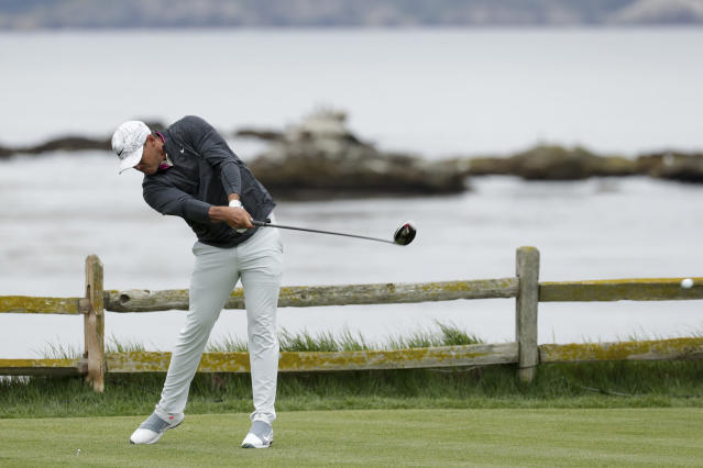 Brooks Koepka hits his tee shot on the 18th hole during the second round of the U.S. Open Championship golf tournament Friday, June 14, 2019, in Pebble Beach, Calif. (AP Photo/Matt York)