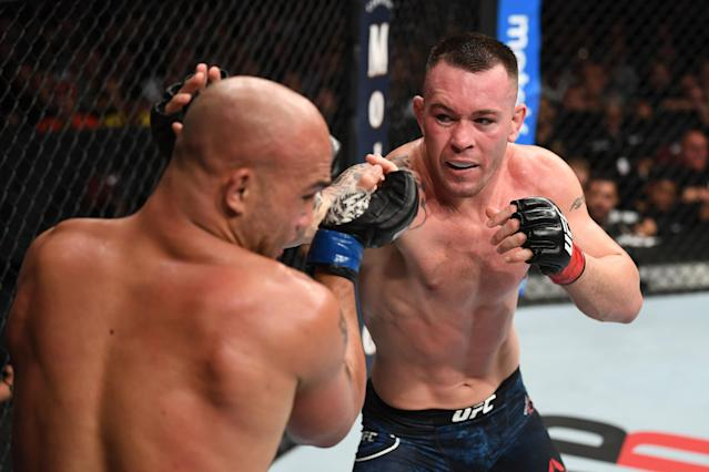 Colby Covington drew support from the Trump family on Saturday ahead of his bout with Robbie Lawler at UFC Newark, and Donald Jr. and Eric even made the trip to sit cageside at the Prudential Center. (Josh Hedges/Getty Images)