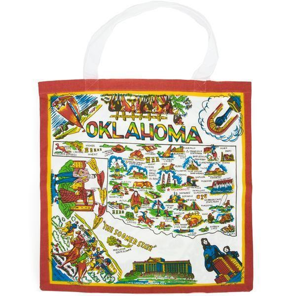"""<p>themercantile.com</p><p><strong>$13.00</strong></p><p><a href=""""https://www.themercantile.com/products/oklahoma-map-tote"""" rel=""""nofollow noopener"""" target=""""_blank"""" data-ylk=""""slk:Shop Now"""" class=""""link rapid-noclick-resp"""">Shop Now</a></p><p>What better way to get to know the Sooner State than with this tote, which features a fun map of the state's most notable features. Ree loves Oklahoma-themed gifts and stocks this bag at her store, <a href=""""https://www.thepioneerwoman.com/ree-drummond-life/a32099921/ree-drummond-mercantile-store-restaurant-menu-info/"""" rel=""""nofollow noopener"""" target=""""_blank"""" data-ylk=""""slk:The Merc"""" class=""""link rapid-noclick-resp"""">The Merc</a>!</p>"""