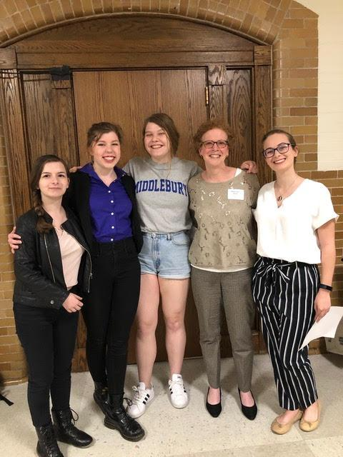 From left to right, Era Laho (sophomore BHS), Carter Mucha (Senior BHS and co-chair NARAL Pro-Choice BHS Chapter), Eva Stanley (Senior BHS and co-chair NARAL chapter), Rebecca Stone, Alison Keenan (former chair of NARAL BHS chapter ) outside Town Meeting after passage of the Warrant Article. (Credit: Rebecca Stone)
