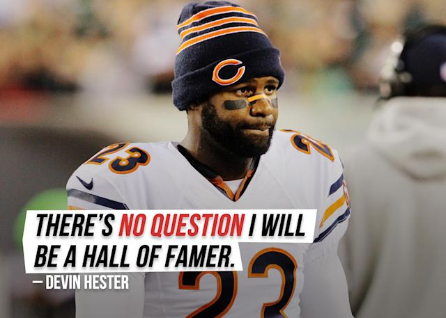 """Former Chicago Bears returner Devin Hester is <a href=""""https://sports.yahoo.com/former-bears-returner-devin-hester-has-no-doubt-hell-be-in-the-hall-of-fame-134122264.html"""" data-ylk=""""slk:very confident;outcm:mb_qualified_link;_E:mb_qualified_link;ct:story;g:undefined;"""" class=""""link rapid-noclick-resp yahoo-link"""">very confident</a> in his NFL legacy."""