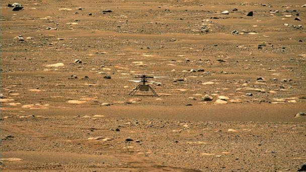 PHOTO: NASA's Ingenuity Mars Helicopter successfully completed a high-speed spin-up test, captured by the Mastcam-Z instrument on Perseverance, April 16, 2021. (NASA/JPL-Caltech/ASU/AFP via Getty Images)