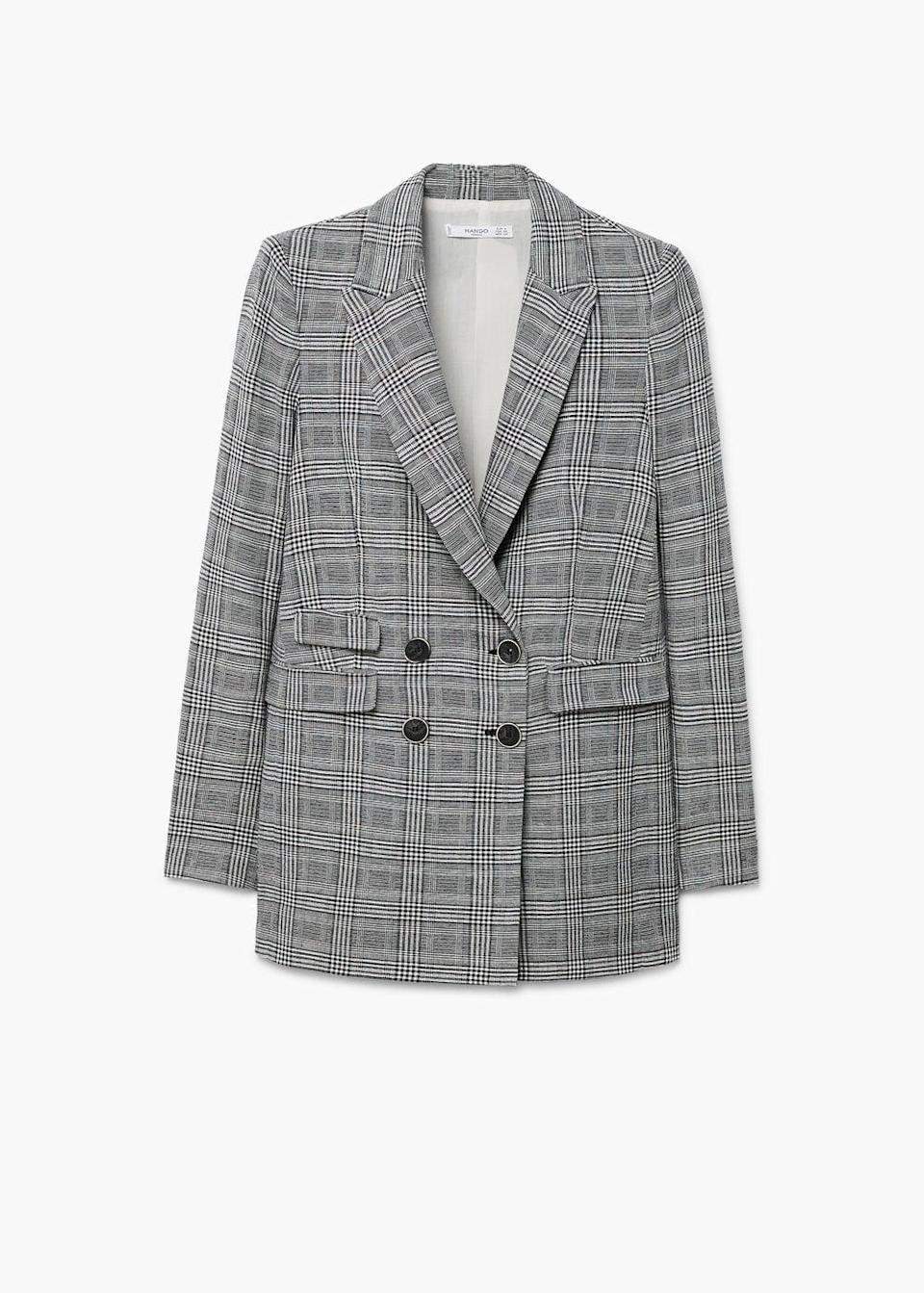 """<p>Prince of Wales check is making the rounds this fashion month so it's bound to make an appearance on the streets of London. We'll be wearing ours with a crisp white t-shirt and co-ordinating trousers.<br><br><em><a rel=""""nofollow noopener"""" href=""""https://shop.mango.com/gb/women/jackets-blazers/prince-of-wales-blazer_11025032.html?c=92&n=1&s=prendas.familia;4,304"""" target=""""_blank"""" data-ylk=""""slk:Mango"""" class=""""link rapid-noclick-resp"""">Mango</a>, £69.99</em> </p>"""
