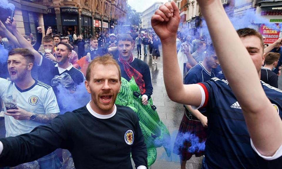 Scotland fans in London's West End before the match with England.