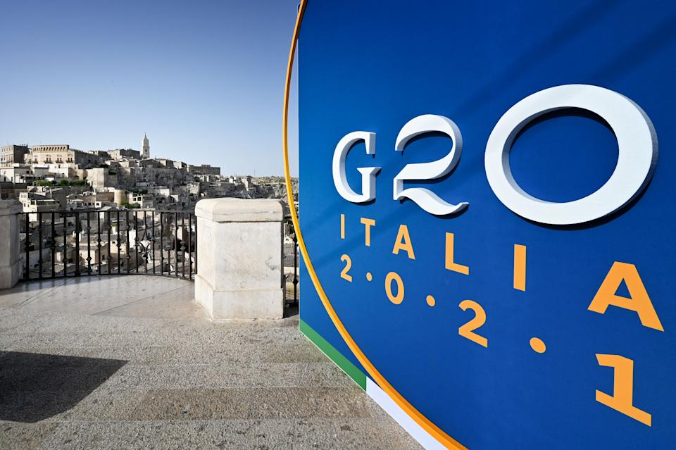 The G20 logo is pictured on June 28, 2021 on a balcony overlooking Matera on the eve of a G20 foreign and development ministers meeting held in the city. (Photo by Alberto PIZZOLI / AFP) (Photo by ALBERTO PIZZOLI/AFP via Getty Images)