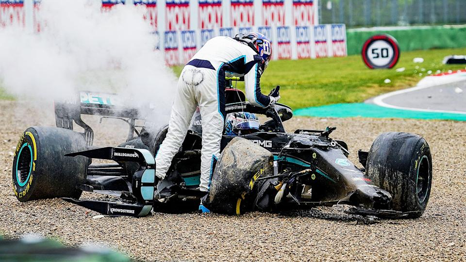 George Russell and Valtteri Bottas, pictured here after colliding at high speed in the Emilia Romagna Grand Prix.