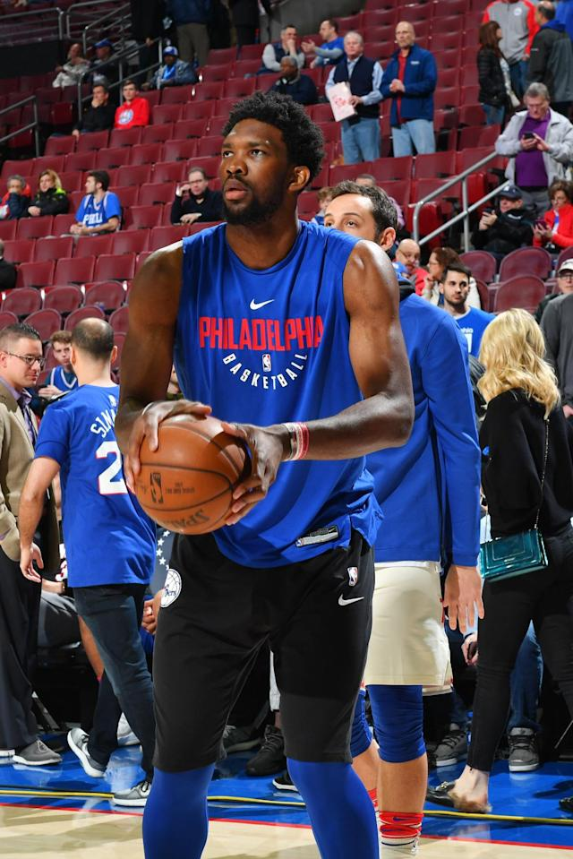 PHILADELPHIA, PA - APRIL 16: Joel Embiid #21 of the Philadelphia 76ers warms up prior to Game Two of Round One of the 2018 NBA Playoffs against the Miami Heat on April 16, 2018 in Philadelphia, Pennsylvania (Photo by Jesse D. Garrabrant/NBAE via Getty Images)