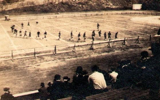 This 1918 photo by Thomas Carter, a Georgia Tech graduate, shows a game at Grant Field during the pandemic. (Photo by Thomas Carter/Provided by Andy McNeil)