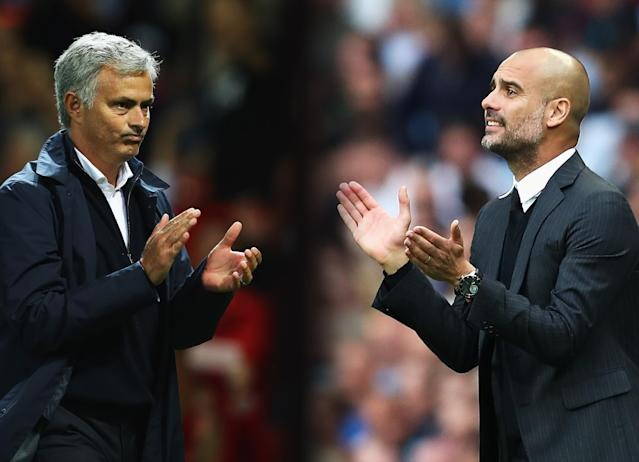 Jose Mourinho and Pep Guardiola have the Manchester clubs off to roaring starts in the Premier League. (Getty)