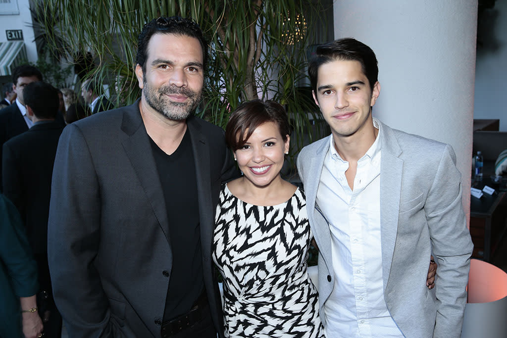 """Ricardo A. Chavira, Justina Machado, and Joseph Haro (""""Welcome to the Family"""") at the NBC Cocktail Reception during the 2013 Summer Television Critics Association tour."""
