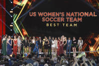 The U.S. women's national soccer team accepts the award for best team at the ESPY Awards on Wednesday, July 10, 2019, at the Microsoft Theater in Los Angeles. (Photo by Chris Pizzello/Invision/AP)