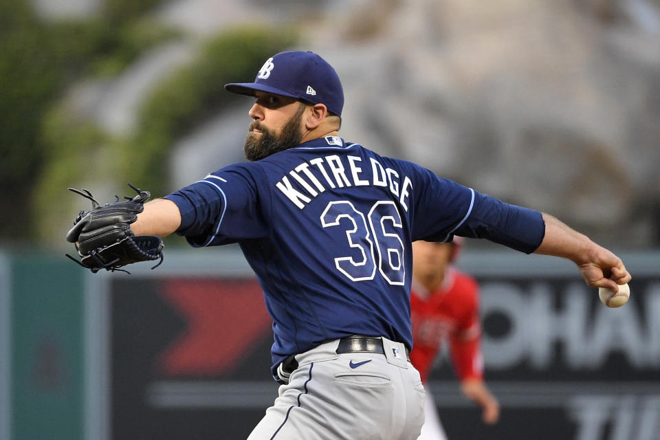 Tampa Bay Rays starting pitcher Andrew Kittredge throws to the plate during the second inning of a baseball game against the Los Angeles Angels on Wednesday, May 5, 2021, in Anaheim, Calif. (AP Photo/Mark J. Terrill)