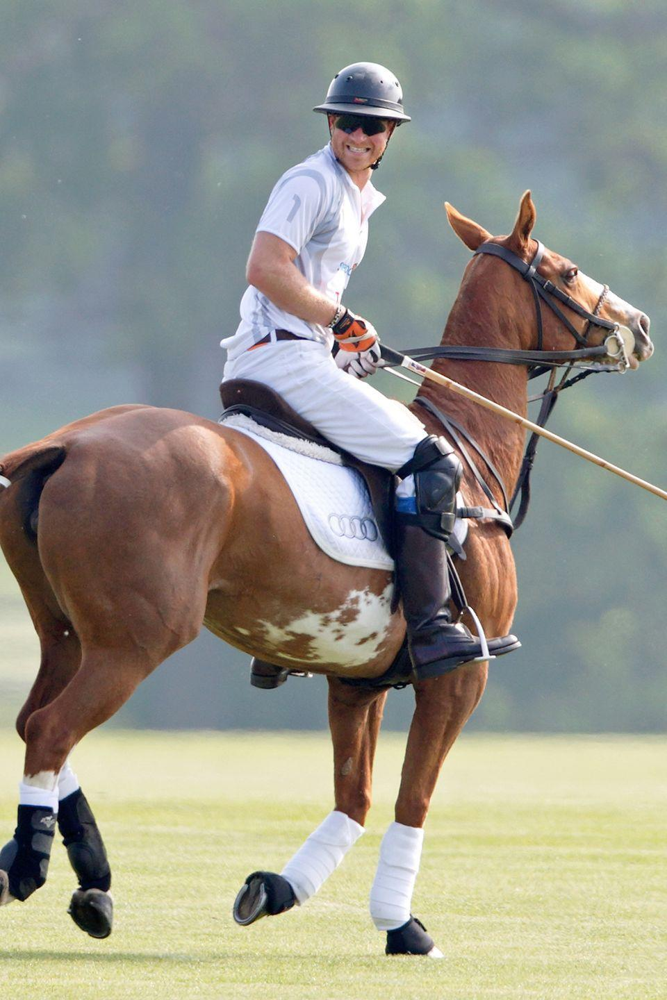 <p>Harry smiles during the Audi Polo Challenge at Coworth Park Polo Club in Ascot, England.</p>