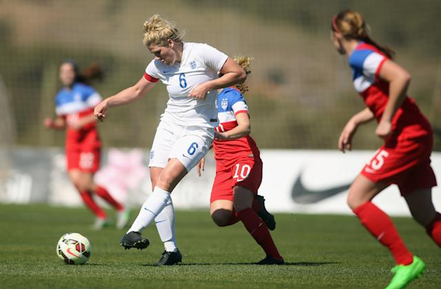 LA MANGA, SPAIN - MARCH 04: Emily Ogle (#10) of USA and Millie Bright (#6) of England fight for the ball during the women's U23 international friendly match between USA U20 and England U23 on March 4, 2016 in La Manga, Spain. (Photo by Johannes Simon/Bongarts/Getty Images)