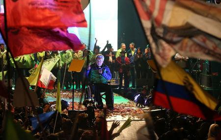Lenin Moreno, presidential candidate from the ruling PAIS Alliance party, gives a speech during a campaign rally in Quito, Ecuador, February 15, 2017. REUTERS/Mariana Bazo