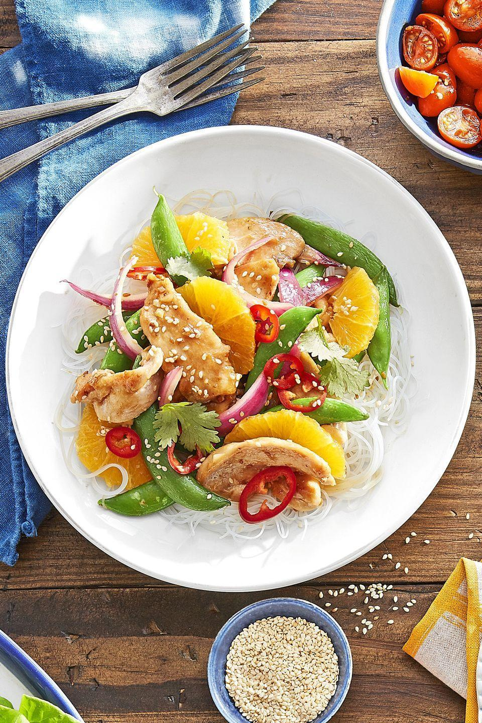 """<p>Sweet sugar snap peas and sliced oranges give color and sweetness to this chicken stir-fry.</p><p><strong><a href=""""https://www.countryliving.com/food-drinks/recipes/a44282/sugar-snap-orange-teriyaki-stir-fry-recipe/"""" rel=""""nofollow noopener"""" target=""""_blank"""" data-ylk=""""slk:Get the recipe"""" class=""""link rapid-noclick-resp"""">Get the recipe</a>.</strong></p>"""