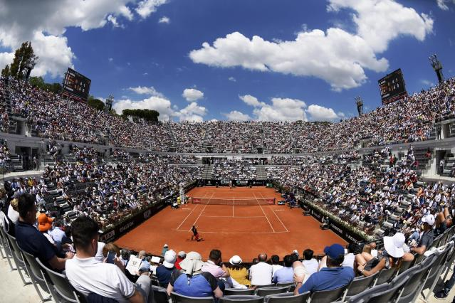 A view of the Foro Italico's central court as Italy's Fabio Fognini plays Spain's Rafa Nadal during their quarterfinal match at the Italian Open tennis tournament in Rome, Friday, May 18, 2018. (Claudio Onorati/ANSA via AP)