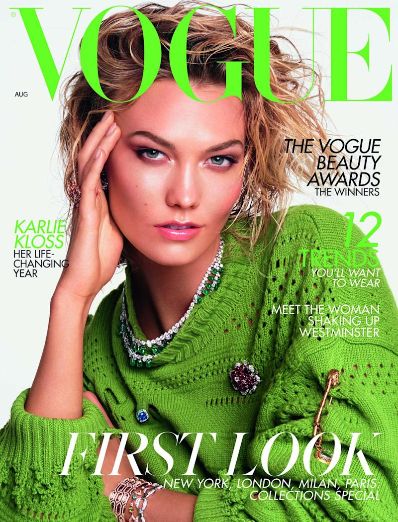 Karlie Kloss on the cover of August British Vogue (Steven Meisel)