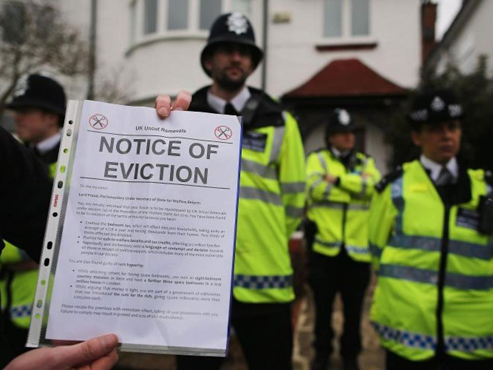 <p>Courts can process eviction cases and issue notices of eviction but bailiffs won't be able to enact them until after the current extension ends on 22 February</p> (Getty)