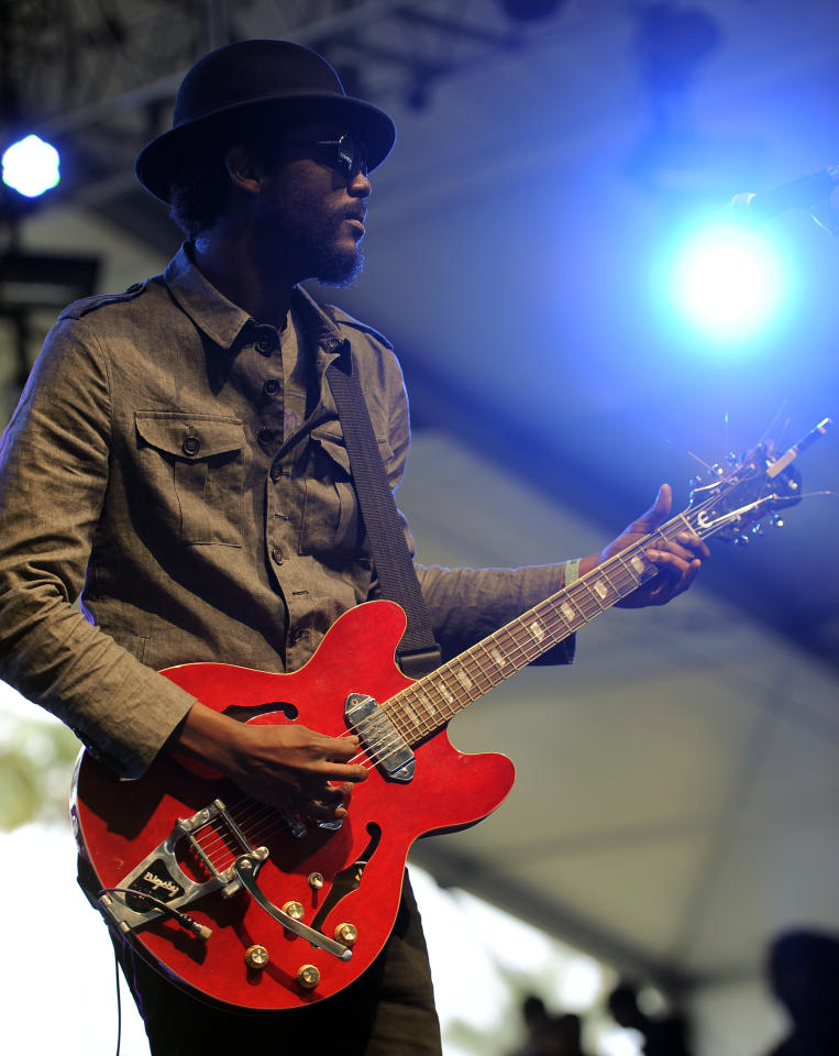 Gary Clark Jr. performs during the first weekend of the 2012 Coachella Valley Music and Arts Festival, Friday, April 13, 2012, in Indio, Calif. (AP Photo/Chris Pizzello)