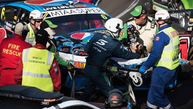 Mostert was rushed to hospital. Image: Getty