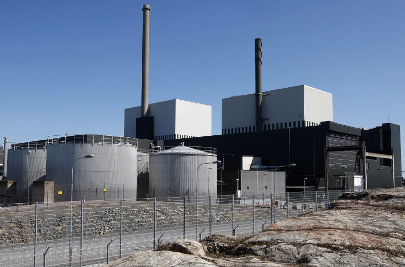 FILE - In this May 22, 2008 file photo, an exterior view of the Oskarshamn nuclear power plant in Oskarshamn, southeastern Sweden. Officials at OKG, which runs the Oskarshamn nuclear power plant in southeastern Sweden, say they had to shut down reactor three on Sunday, Sept. 29, 2013 after tons of jellyfish clogged up pipes bringing cooling water to the plant. (AP Photo/TT News Agency, Mikael Fritzon) SWEDEN OUT