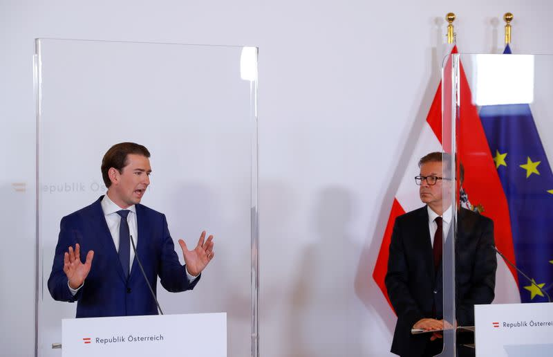 Austria's Chancellor Kurz and Health Minister Anschober attend a news conference in Vienna