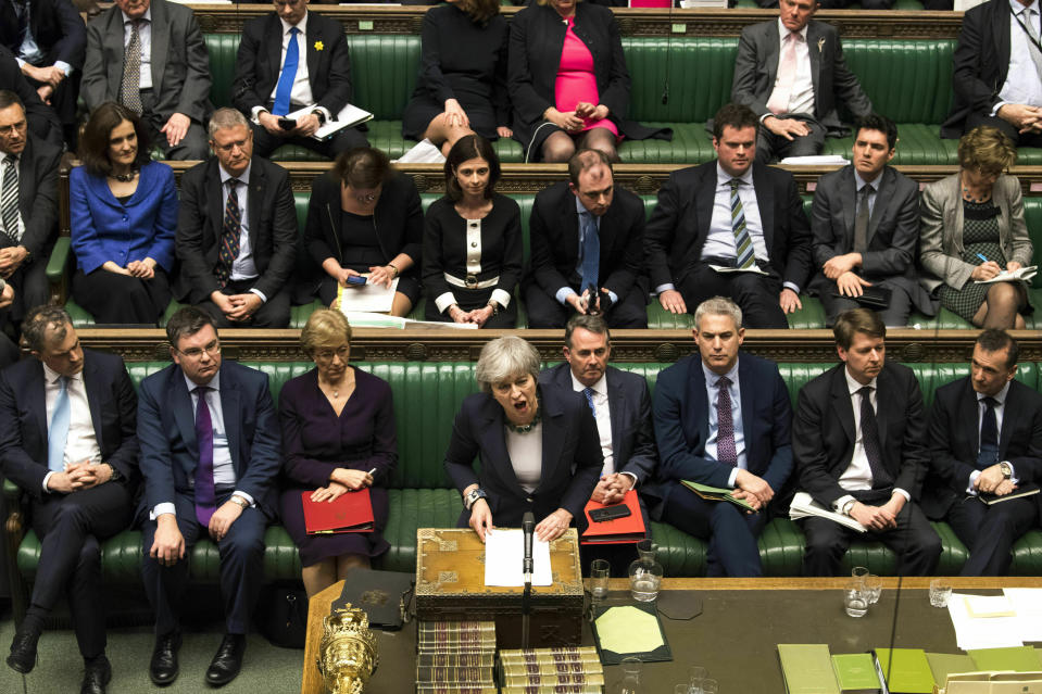 BTheresa May speaks in the House of Commons. (Mark Duffy/UK Parliament via AP)