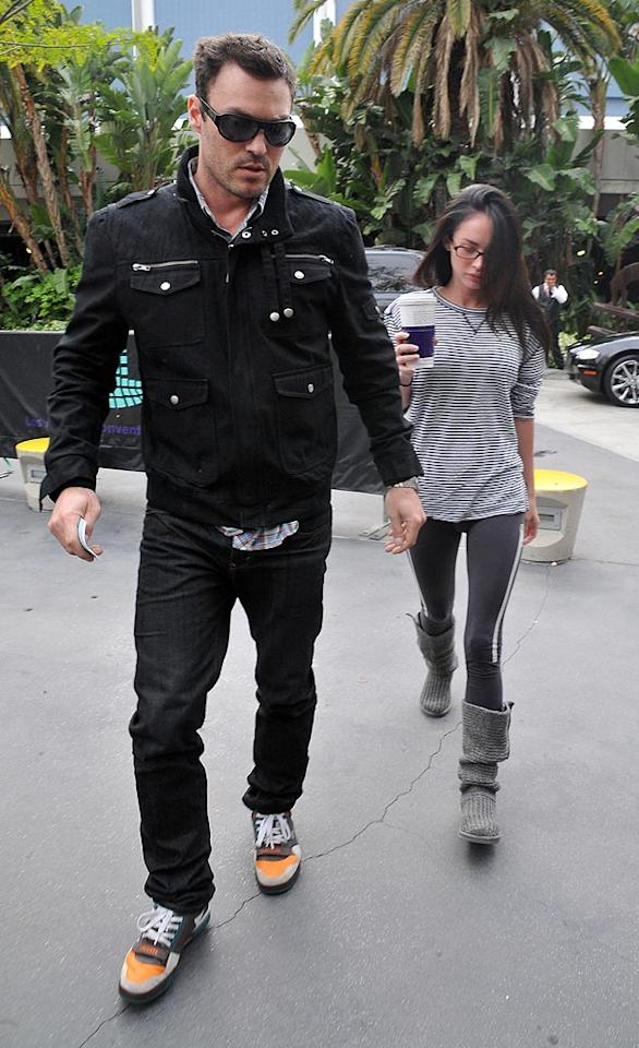 """""""Megan Fox's germophobia takes toll on relationship,"""" reads the headline of a <i>National Enquirer</i> story that claims the starlet's fears are so intense they're wreaking havoc on her bond with boyfriend Brian Austin Green. So will it tear the two apart? A source close to the couple gives <a href=""""http://www.gossipcop.com/megan-fox-brian-austin-green-germs-germophobia-obsessive-compulsive-ocd/"""" target=""""new"""">Gossip Cop</a> all the dirt. Fern/<a href=""""http://www.splashnewsonline.com"""" target=""""new"""">Splash News</a> - May 17, 2010"""