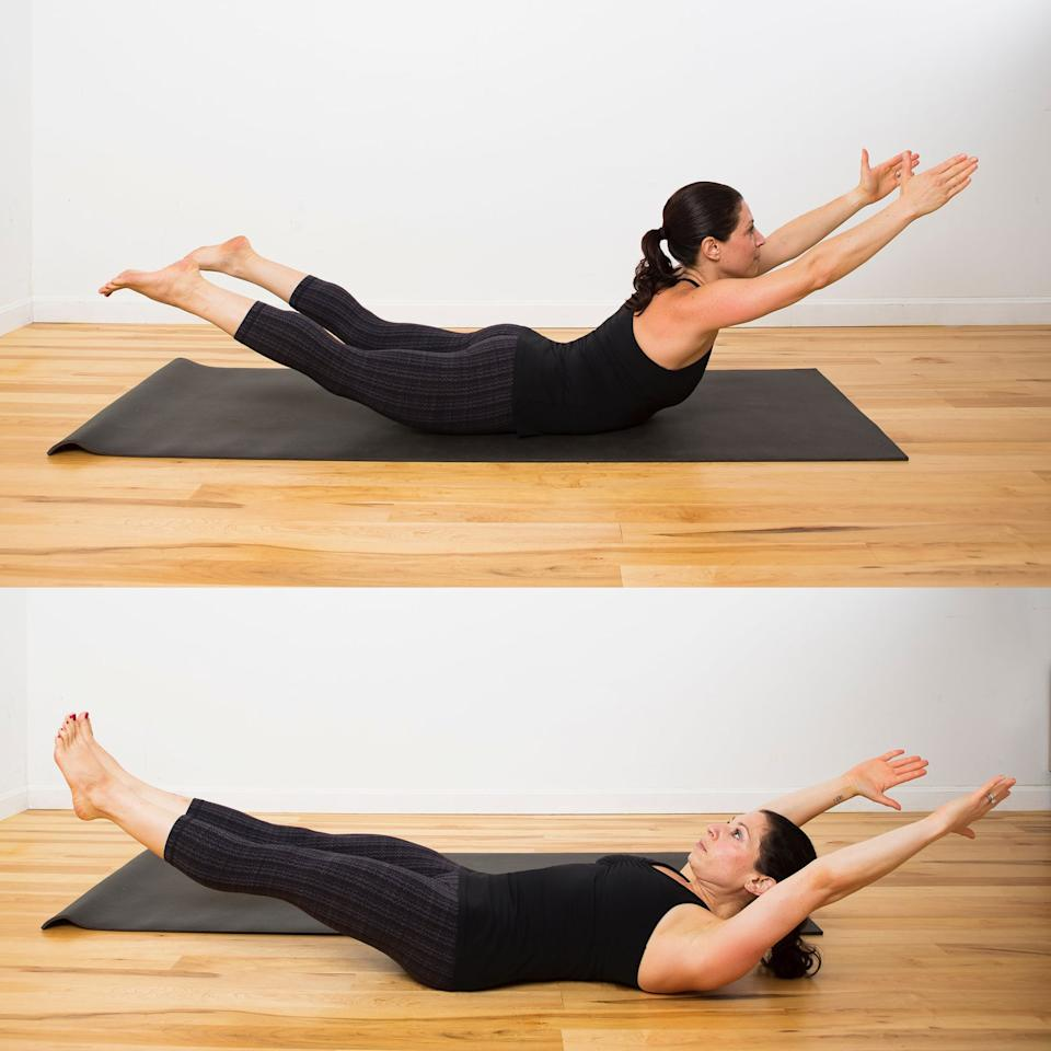 """<p><strong>How this pose helps:</strong> strengthens core</p> <ul> <li>Begin on the floor on your belly and raise your arms and legs into the <a href=""""https://www.popsugar.com/fitness/How-Do-Superman-Exercise-1110085"""" class=""""ga-track"""" data-ga-category=""""Related"""" data-ga-label=""""http://www.popsugar.com/fitness/How-Do-Superman-Exercise-1110085"""" data-ga-action=""""In-Line Links"""">Superman Hold</a>. Hold here for a solid three seconds, actively engaging your glutes and hamstrings.</li> <li>Without using your hands or feet for help, roll to the right side and onto your back, coming into a Hollow Hold. Make sure you're actively pressing your lower back into the floor and drawing your belly button into your spine. Keep your arms and legs as low to the ground as possible while still keeping your lower back pressed into the mat.</li> <li>Roll to the right, coming back into Superman Hold for three seconds. </li> <li>Roll to the left, holding Hollow Hold for three seconds.</li> <li>Roll to the left, coming back into Superman Hold for the another three seconds.</li> <li>Repeat this cycle for 30 seconds.</li> </ul>"""