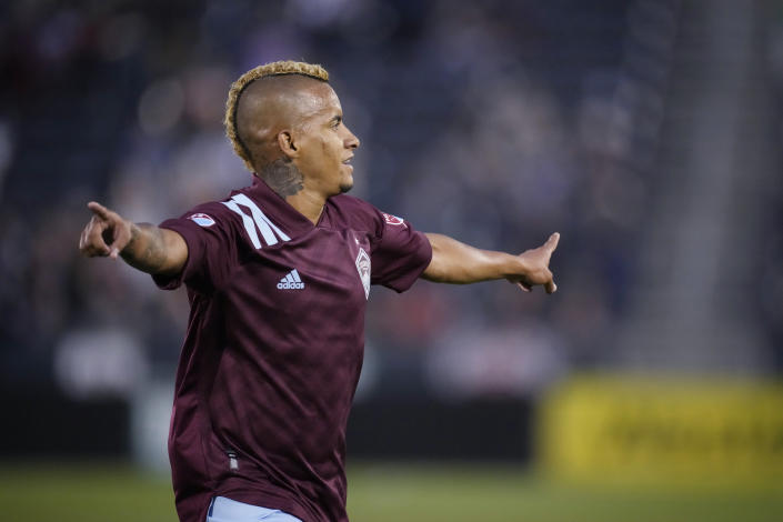 Colorado Rapids forward Michael Barrios celebrates his goal during the second half of the team's MLS soccer match against FC Dallas on Wednesday, July 21, 2021, in Commerce City, Colo. The Rapids won 2-0. (AP Photo/David Zalubowski)