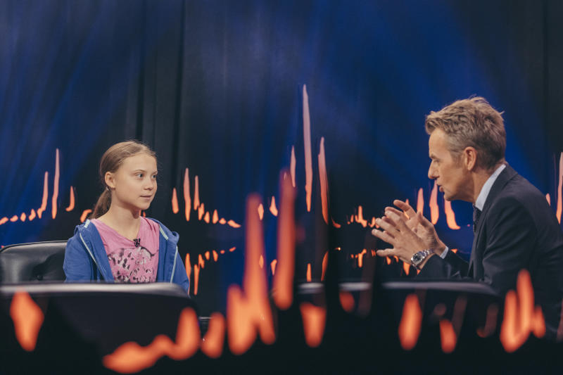 "On a popular Scandinavian talkshow called ""Skavlan,"" climate change activist Greta Thunberg revealed Arnold Schwarzenegger offered to lend her his electric car. (Credit: Skavlan Talkshow)"