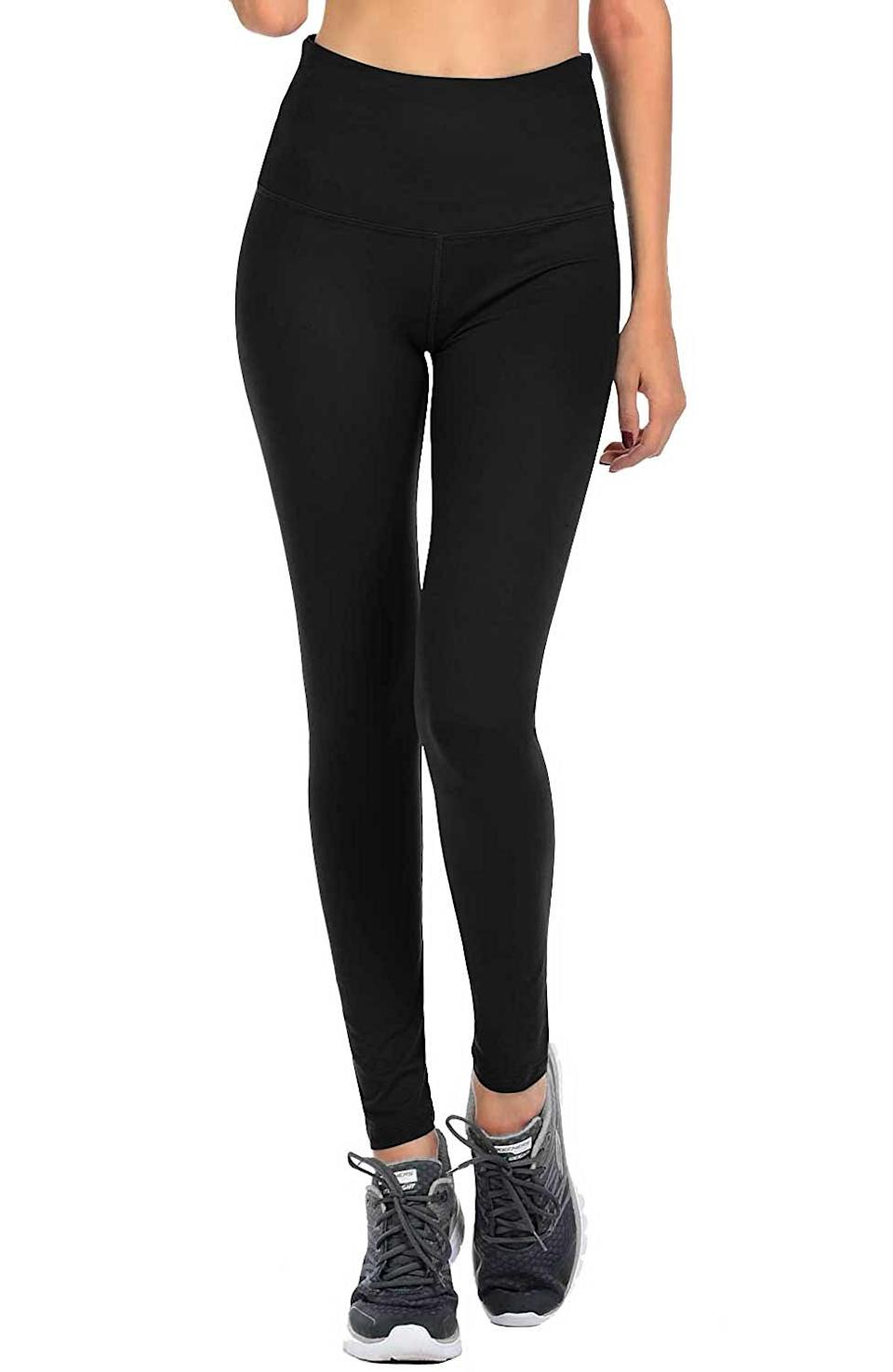 """<strong><h3>Viv Collection: The """"One Size Fits All"""" Legging</h3></strong><br>This pair comes in a wide range of sizes, two different lengths, and whopping 14 colors. <br><br><strong>The hype:</strong> 4.4 out of 5 stars and 4,304 reviews on Amazon<br><br><strong>What they're saying:</strong> """"I think after purchasing 6 pairs of these it's time to offer some feedback on them. These leggings are amazing!!! I held off on trying them for such a long time and wish I would of gotten them sooner!! They are soft and feel great. Even better than the ones ppl sell on Facebook!! Some ppl don't like the waistband but their yoga leggings have the wide waistband made of fabric is the elastic one is not your thing. They hold up well even after several washes. I never got a defective pair and I own 6 so far. Most are solid colored ones. I haven't gotten random holes in them. They even withstood my kittens digging their nails into them. Which for me is the ultimate test LOL. Seriously though, they're inexpensive, fit great (I got the regular fit not plus) and have a huge selection of colors and prints to choose from. For reference I have thick legs and thighs and usually wear M or L (depending on manufacturers) leggings. I've recommended these to a lit if ppl on social media and they all loved them..."""" - LC78, Amazon Review<br><br><strong>Viv Collection</strong> Signature Leggings, $, available at <a href=""""https://amzn.to/2GeRaxb"""" rel=""""nofollow noopener"""" target=""""_blank"""" data-ylk=""""slk:Amazon"""" class=""""link rapid-noclick-resp"""">Amazon</a>"""