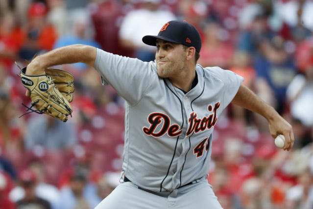 Detroit Tigers starting pitcher Matthew Boyd throws during the first inning of the team's baseball game against the Cincinnati Reds, Tuesday, June 19, 2018, in Cincinnati. (AP Photo/John Minchillo)