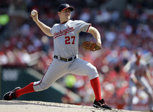 Washington Nationals starting pitcher Jordan Zimmermann throws during the first inning of a baseball game against the St. Louis Cardinals Wednesday, Sept. 25, 2013, in St. Louis. (AP Photo/Jeff Roberson)