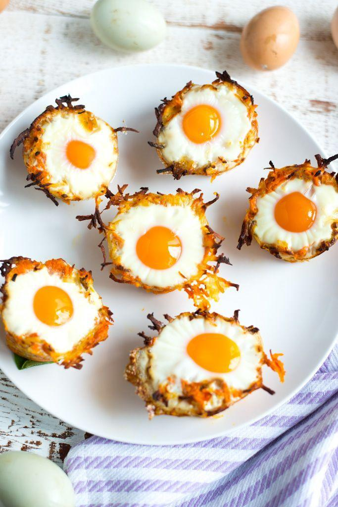 """<p>Of course you can get your sweet potato fix during breakfast. Just whip up a batch of these adorable (and yummy!) egg nests.</p><p><strong>Get the recipe at <a href=""""https://www.realfoodwholelife.com/blog/sweet-potato-hashbrown-egg-nests"""" rel=""""nofollow noopener"""" target=""""_blank"""" data-ylk=""""slk:Real Food Whole Life"""" class=""""link rapid-noclick-resp"""">Real Food Whole Life</a>.</strong></p><p><strong><a class=""""link rapid-noclick-resp"""" href=""""https://www.amazon.com/dp/B001IANICS/?tag=syn-yahoo-20&ascsubtag=%5Bartid%7C10050.g.877%5Bsrc%7Cyahoo-us"""" rel=""""nofollow noopener"""" target=""""_blank"""" data-ylk=""""slk:SHOP MUFFIN TINS"""">SHOP MUFFIN TINS</a><br></strong></p>"""