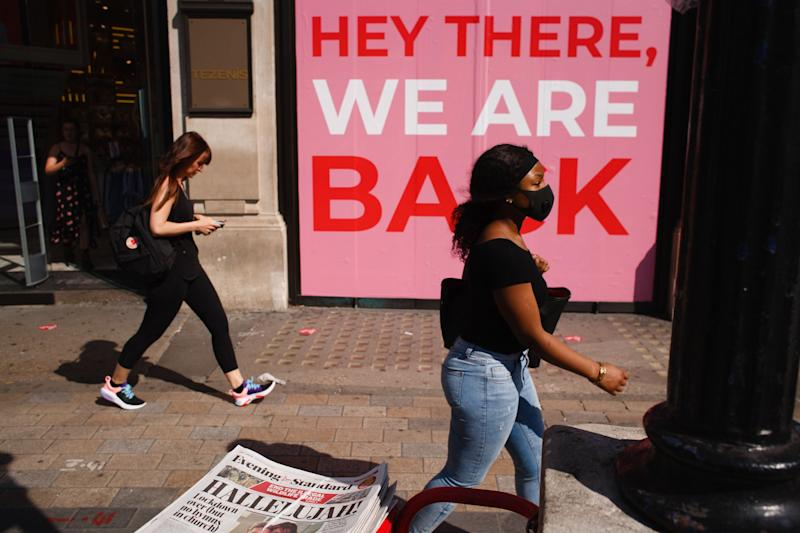 Shops in Oxford Circus in London celebrate the further easing of Britain's lockdown restrictions, aimed at reviving the economy, June 23. (Photo: NurPhoto via Getty Images)