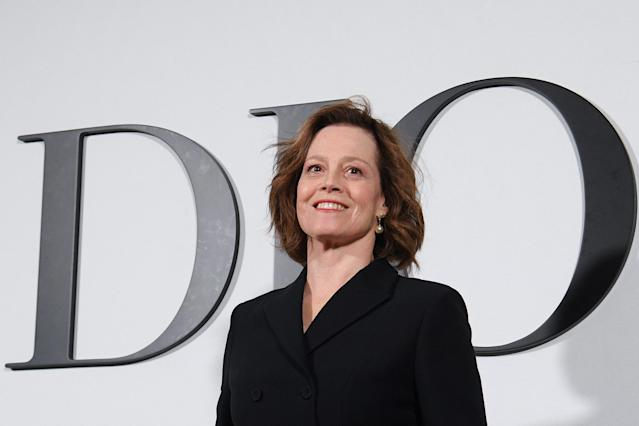 Sigourney Weaver poses during the photocall prior to a Dior fashion show in Paris on February 25, 2020. (Photo by Anne-Christine Poujoulat/AFP via Getty Images)
