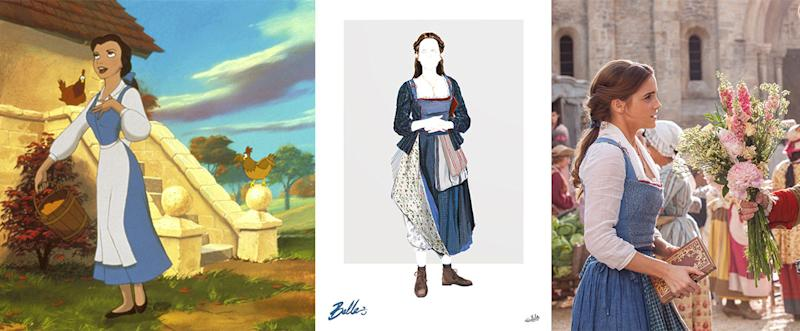 Belle in her blue village dress. (Photo from left: Everett Collection; Disney; Everett Collection)
