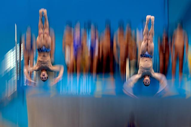 Kristian Ipsen and Troy Dumais of the United States practise for the Men's Synchronised 3m Springboard on Day 4 of the London 2012 Olympic Games at the Aquatics Centre on July 31, 2012 in London, England. (Photo by Adam Pretty/Getty Images)